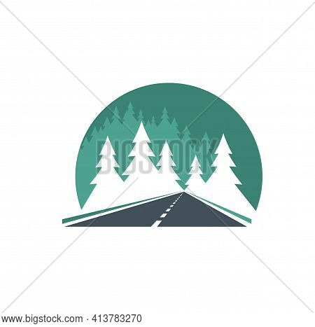 Road Icon, Highway In Green Forest, Way Or Traffic Route, Vector. Road In Forest Sign For Transport