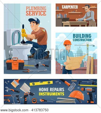 Plumber, Construction Workers And Home Repair Tools Banner. Plumber With Plunger Unclog Toilet, Carp