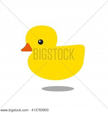 Yellow Rubber Duck With Orange Beak And Shadow Isolated On White Background