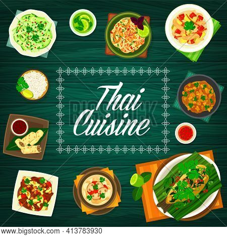 Thai Food And Thailand Cuisines Menu Cover, Asian Restaurant Dishes, Vector. Traditional Thai Food,