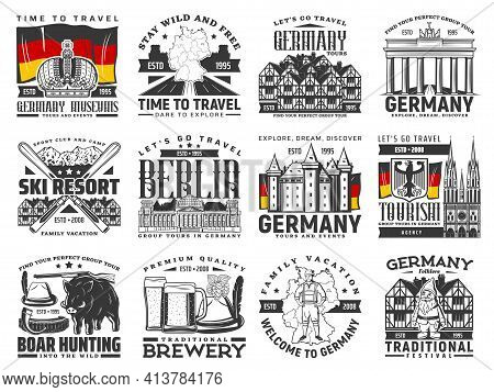 Travel To Germany Vector Icons, German Famous Landmarks, Architecture, Touristic Sightseeing. Travel