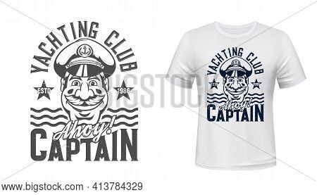 Tshirt Print With Captain And Sea Waves, Yachting Club Vector Mascot, Regatta Sea Cruise Emblem With