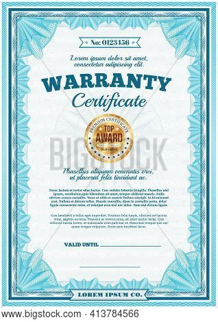 Warranty Certificate, Guarantee Diploma Border Frame, Vector Template With Gold Badge Stamp. Premium