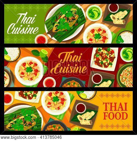 Thai Food Cuisine, Thailand Asian Restaurant Dishes Menu, Vector Banners. Thai Cuisine Cooking Cover