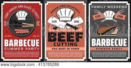 Barbecue Party And Steak Restaurant Retro Poster. Sausages Grilling On Barbecue Grill Grid, Bbq Tong