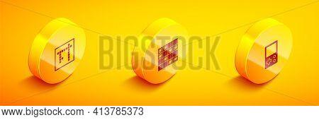 Set Isometric Bingo, Board Game Of Checkers And Tetris Icon. Vector