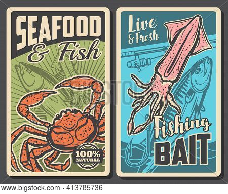 Seafood And Fishing Bait Store Banner. Fresh Tuna And Mackerel Fish, Live Sea Crab And Squid, Rod Wi