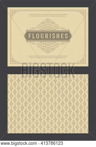 Vintage Ornament Greeting Card Calligraphic Ornate Swirls And Vignettes Frame Design Vector Template