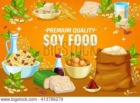 Soy Food Or Soybean Products, Soya Tofu And Milk, Vector Vegetarian Ingredients. Soy Bean Tempeh Ski