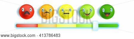 Feedback Emotion Bar Slider, Customer Satisfaction Level Scale, Multicolored Round Vector Face, Icon