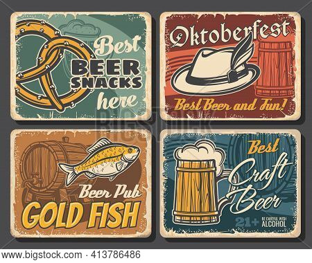 Beer Alcohol Drink And Snack Food Vector Posters Of Pub Or Bar, Brewery And Oktoberfest Design. Glas