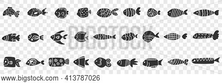Fishes Of Various Patterns Doodle Set. Collection Of Hand Drawn Various Fishes Of Different Patterns