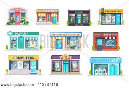 Building Of Shop, Store, Pharmacy, Laundry And Barbershop Isolated Icons Of Cartoon Vector Retail Bu