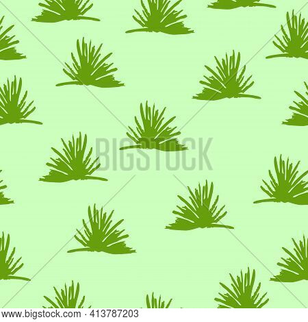 Vector Seamless Pattern With Green Trees And Bushes. Green Background. Cartoon Style. Spring And Sum