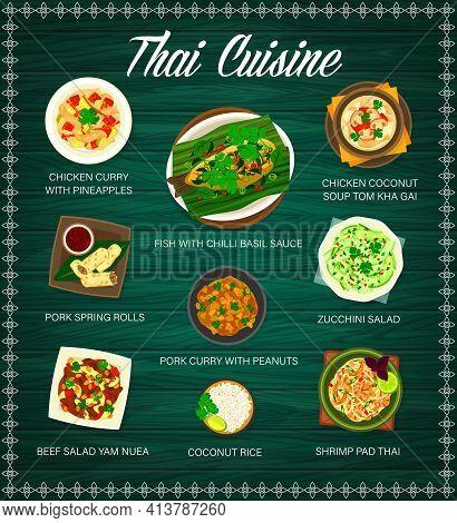 Thai Cuisine Menu, Thailand Food And Asian Dishes, Vector Traditional Meals. Thai Restaurant Menu Co
