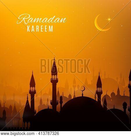 Ramadan Kareem Holiday Arabian City At Sunset. Vector Mosque Or Masjid Buildings Of Islam Religion W