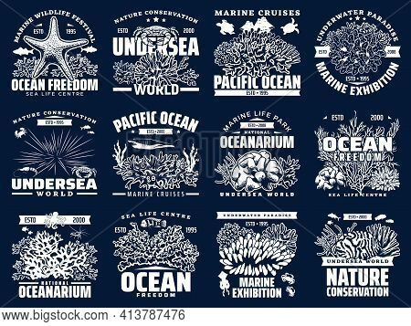 Oceanarium, Underwater Sea And Ocean Animals, Vector Icons. Marine Boat Cruises, Ocean Tropical Faun