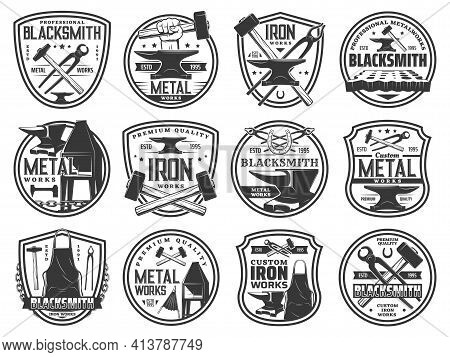 Blacksmith Forge Works On Steel And Metal, Vector Icons Of Smith Hammer And Anvil. Blacksmith Foundr
