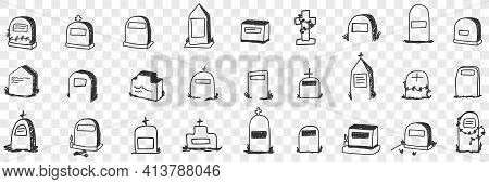 Monument On Grave Doodle Set. Collection Of Hand Drawn Various Shapes And Forms Of Graves Monuments