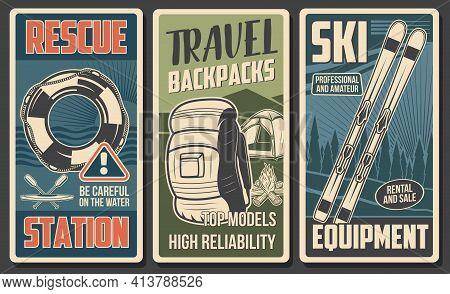Tourist Equipment, Hiking Camp And Skiing Gear Vector Banners Of Travel And Outdoor Adventure. Campi
