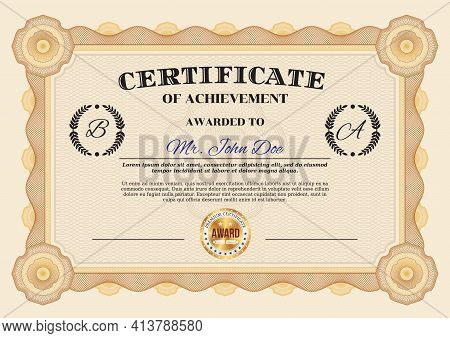 Certificate Of Achievement And Diploma Appreciation Template, Vector Honor Award Frame Border. Busin