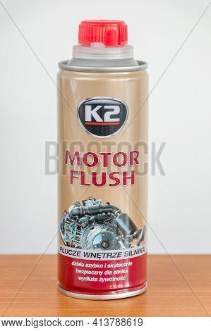 Pruszcz Gdanski, Poland - March 21, 2021: K2 Motor Flush.