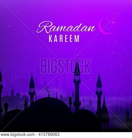 Ramadan Kareem Holiday Vector Design With Night Arabian City. Eid Mubarak Greeting Card With Islam R