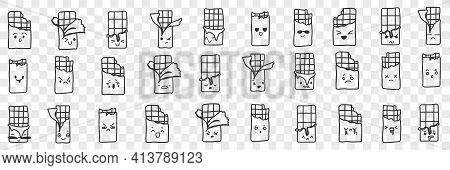Packs With Chocolate Bars Doodle Set. Collection Of Hand Drawn Funny Smiling Packs With Chocolate Wh