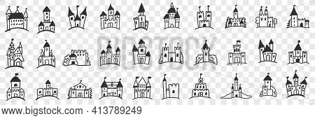 Castles Facades With Towers Doodle Set. Collection Of Hand Drawn Various Facades Of Castles With Tow