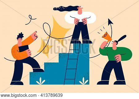 Career, Development, Growth In Work Concept. Business People Cartoon Characters Climbing Corporate L
