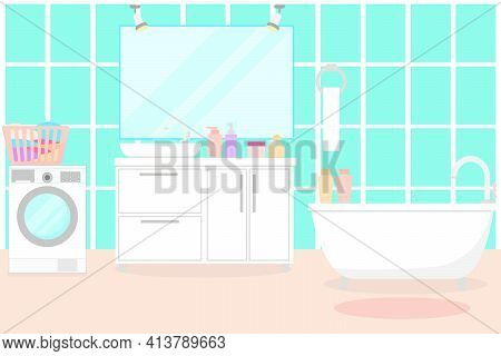 Bathroom With Furniture And Fixtures. Vector. Living Room With Bath, Washbasin, Mirror And Washing M