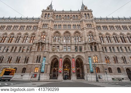 Vienna, Austria - Feb 7, 2020: Upward View Of City Hall Facade Porch With Columns In Winter Hour