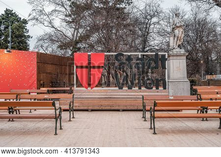Vienna, Austria - Feb 7, 2020: Sign Of Stadt Wien City Of Vienna With Coat Of Arm Outside Cityhall I