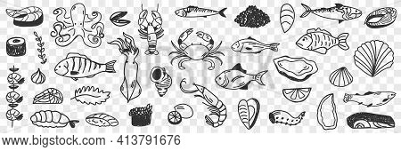 Seafood And Fish Doodle Set. Collection Of Hand Drawn Crab Shrimp Prawn Octopus Shells Caviar Squid