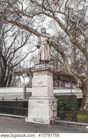 Vienna, Austria - Feb 7, 2020: Statue Of Herzoc Leopold Der Clorreiche Outside City Hall In Winter M