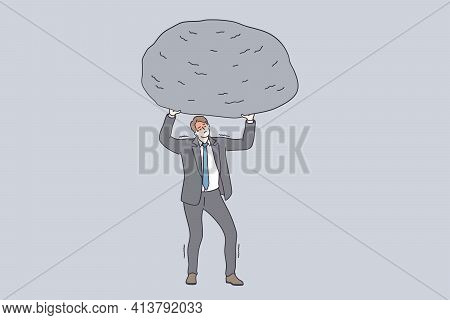 Success, Power, Strength And Stamina Concept. Powerful Businessman Cartoon Character In Grey Suit St