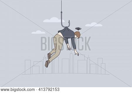 Stress, Failure And Personal Weakness Concept. Young Man Cartoon Character Hanging On Fishing Hook F