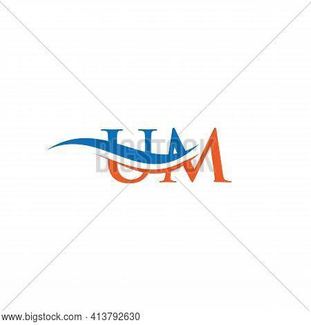 Um Logo Design Vector. Swoosh Letter Um Logo Design