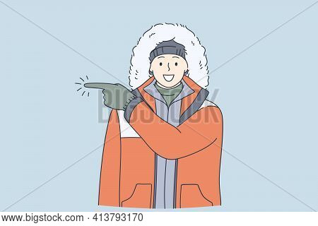 Adventurer, Expedition, Winter Traveling Concept. Young Happy Frozen Man In Warm Clothes Cartoon Cha
