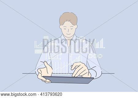 Development Strategy, Working, Business Analyse Concept. Young Smiling Businessman Cartoon Character