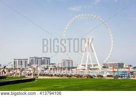 Dubai, Uae, 22.02.2021. Ain Dubai (dubai Eye) Tallest Ferris Wheel In The World On Bluewaters Island