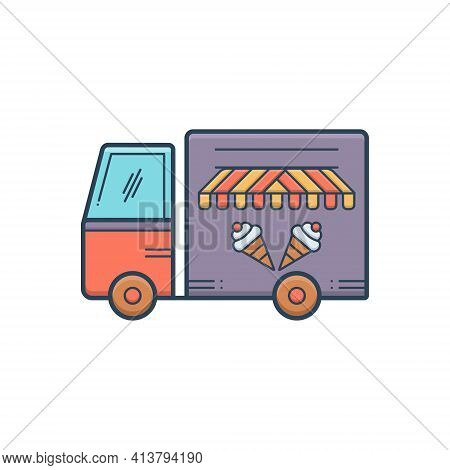 Color Illustration Icon For Icecream Van Vechicle Conveyance Carriage