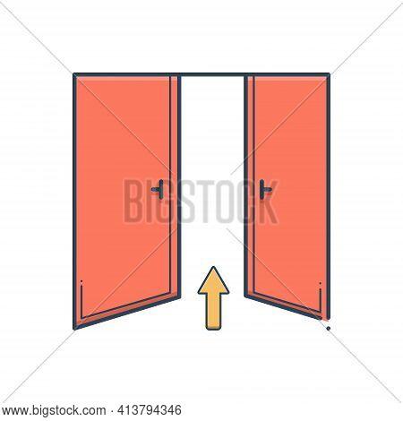 Color Illustration Icon For Entrance Admission Entry Penetration Ingress