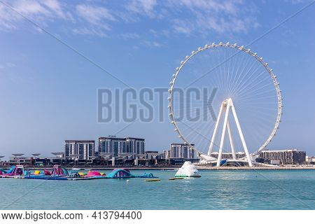 Dubai, Uae, 22.02.2021. Skyline Of Bluewaters Island With Ain Dubai (dubai Eye) Tallest Ferris Wheel
