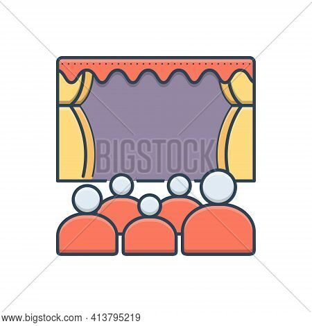 Color Illustration Icon For Theater Cinema Audience Spectator Stage Theatre-audience