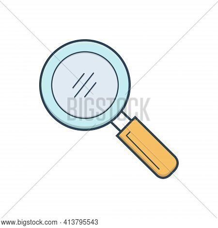 Color Illustration Icon For Search Quest Discovery Finding Detection Magnifying-glass