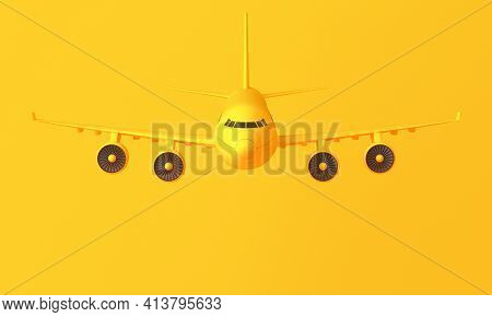 Yellow Four-engine Plane On Yellow Background. Minimal Idea Concept. 3d Rendering
