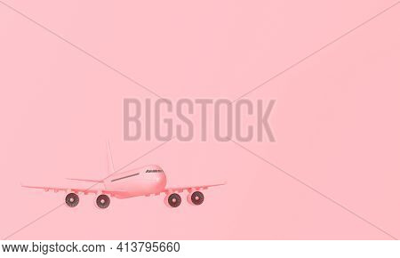 3d Pink Plane On Pink Pastel Background With Copy Space. 3d Rendering