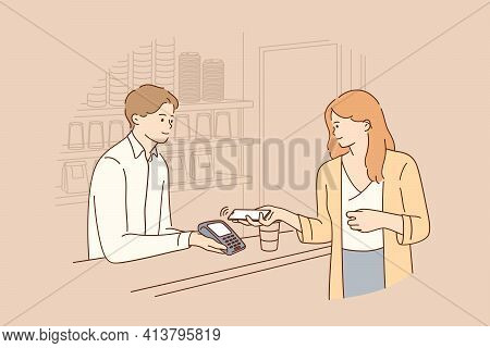 Contactless Payment, Online Transaction Concept. Young Smiling Woman Cartoon Character Holding Smart
