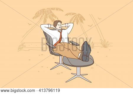 Vacations, Rest From Work And Business Concept. Young Smiling Businessman Cartoon Character Relaxing